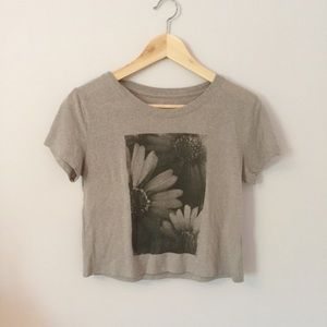 Gray Crop Top with Floral Design